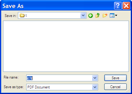Save As dialog for PDF download to c:\t