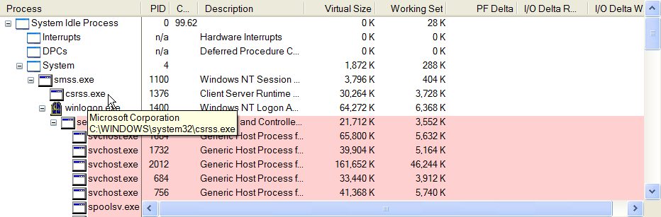 Process Explorer showing location of csrss.exe