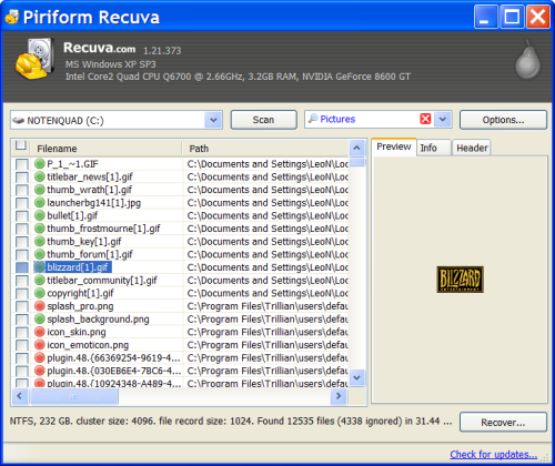 Recuva Results Screen