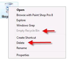 Vista Recycle Bin context menu