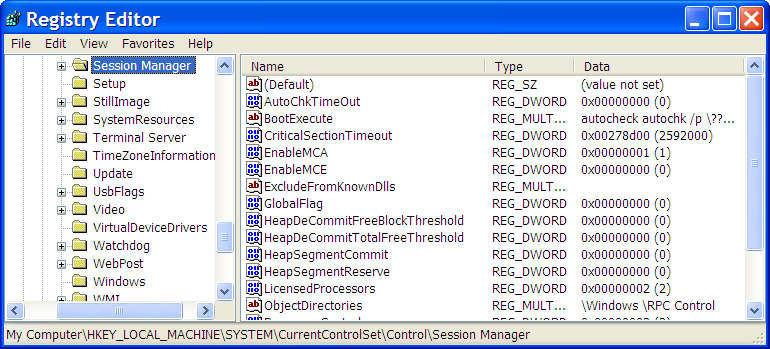 Registry Editor open on HKEY_LOCAL_MACHINESYSTEMCurrentControlSetControlSession Manager
