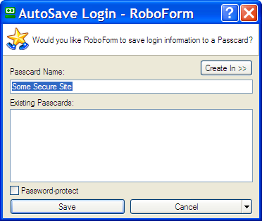 RoboForm asking to save new login information