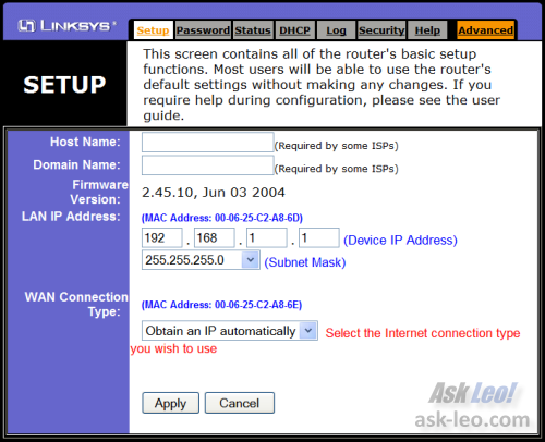 LinkSys BEFSR81 Home Page