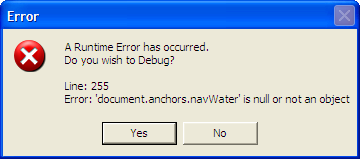 A Runtime Error has occurred. Do you wish to Debug?