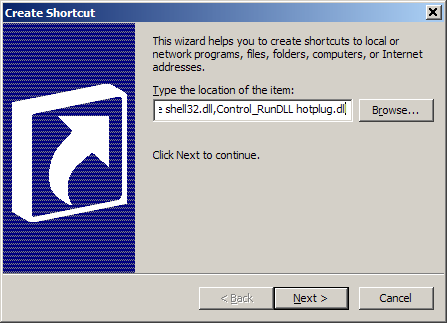 Create shortcut for Safely Remove Hardware dialog