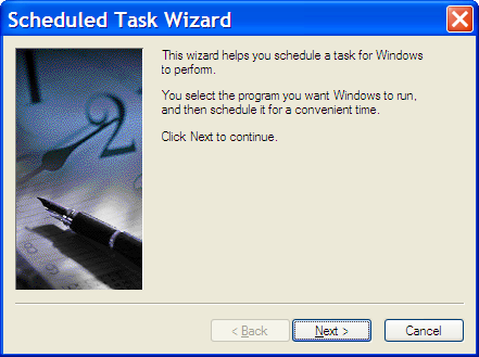 First screen of the Scheduled Task Wizard