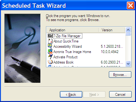 Scheduled Task Wizard - Choose a Program