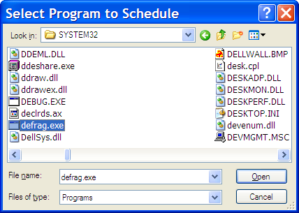 Select a Program to Schedule Browse Dialog