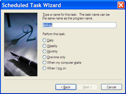 Scheduled Task Name and Schedule Dialog