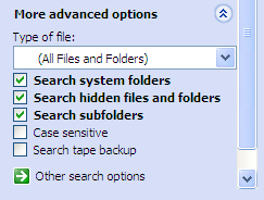 More Advanced Options for Windows Search