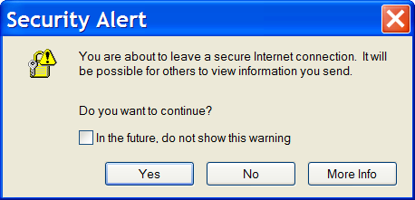 IE's Secure Transition Warning