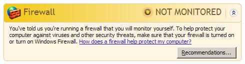 Windows Security Center Firewall Section - Not Monitored