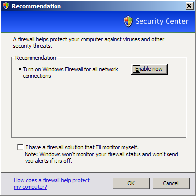 Windows Security Center Firewall Recommendations