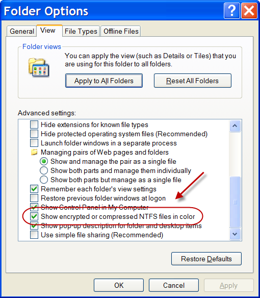 Windows Explorer Option: Show encrypted or compressed NTFS files in color