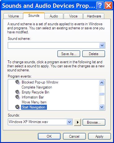 Sound Control Panel Dialog