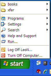 Start Menu, showing no Documents item