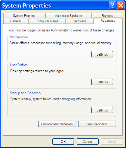 System Properties dialog, Advanced tab