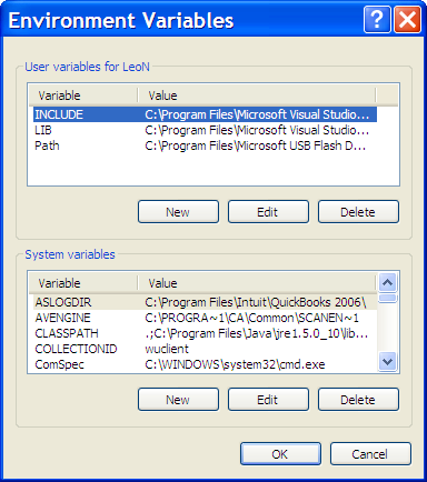 System Properties, Environment Variables dialog