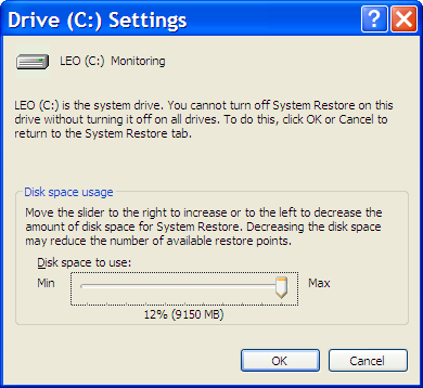 System Restore Drive Settings