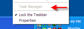 Greyed out Task Manager Item