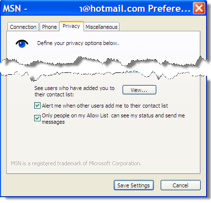 Privacy settings for MSN Instant Messenger in Trillian