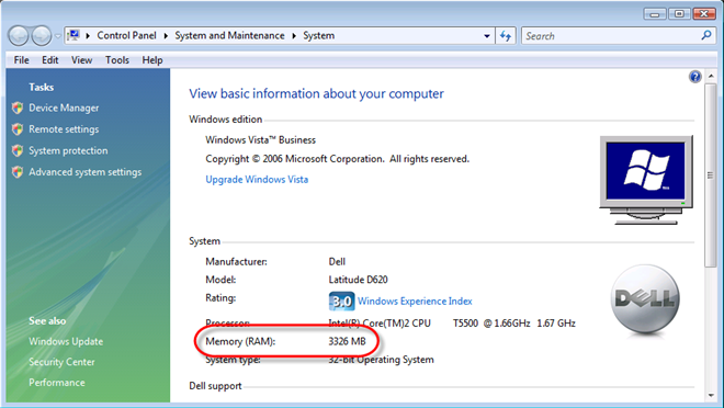 Windows Vista Reports something other than 4gig of RAM