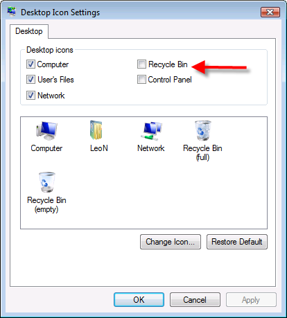 Desktop Icon Settings dialog