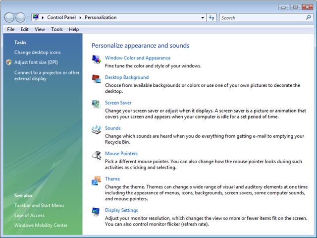 Vista Control Panel - Personalization