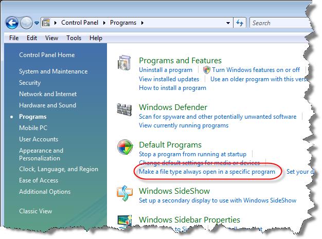 Control Panel - Programs highlighting file associations link
