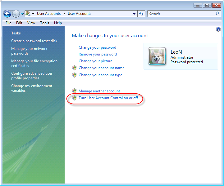 Vista Control Panel, make changes to your account