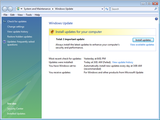 Vista Windows Important Update Notification