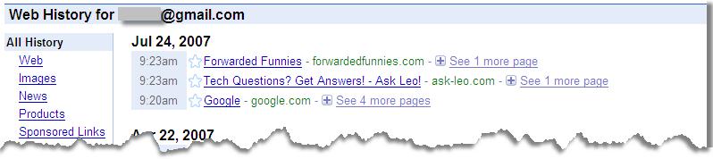 Google Web History Example
