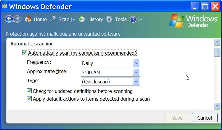 Windows Defender Scanning Options