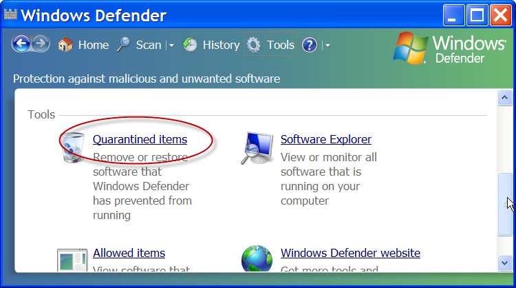 Windows Defender, highlighting the Quarantined Items option