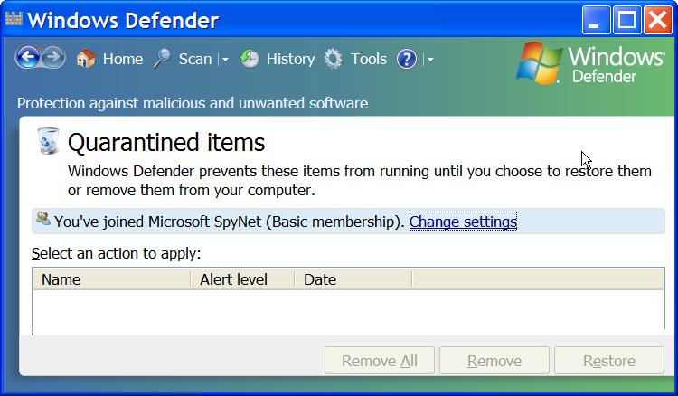 Windows Defender's 'Vault' of Quarantined Items