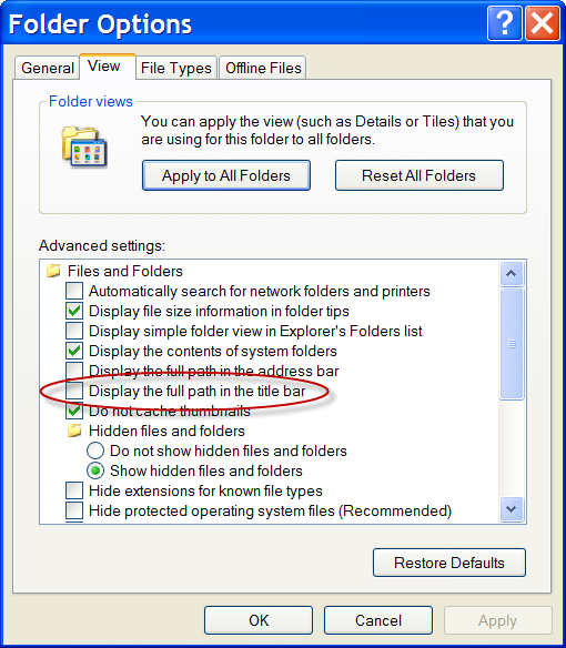 Windows Explorer options, highlighting the display full paht in title bar