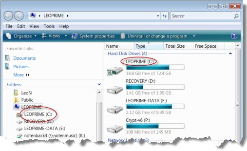 Windows Explorer showing Volume Names