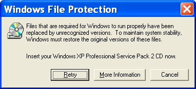 Windows File Protection Warning