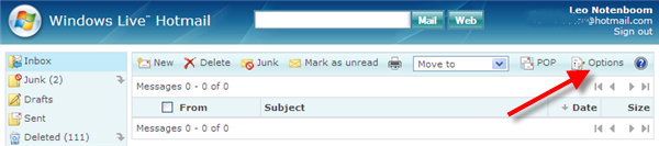 Options link on Windows Live Hotmail Interface