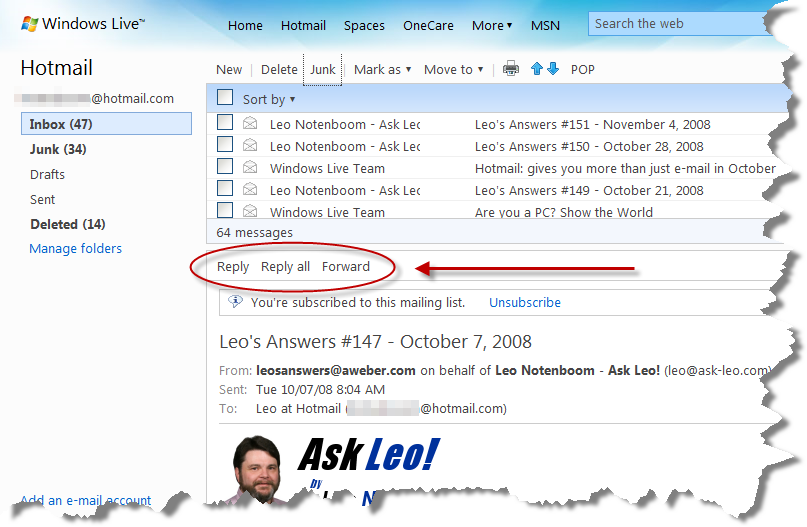 Windows Live Hotmail Reply and Forward Buttons