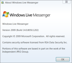 Windows Live Messenger About Box