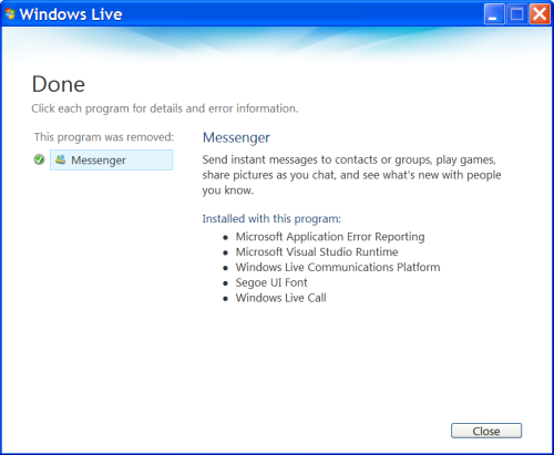 Windows Live Messenger is Uninstalled
