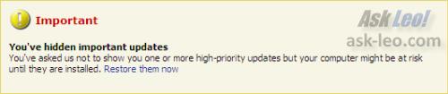 Windows Update Hidden Updates Warning