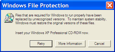 Windows File Protection Error