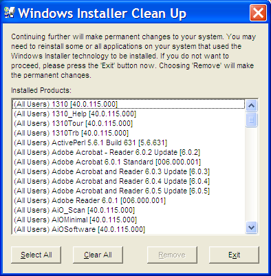 Windows Installer Cleanup program