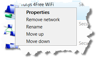 Right click popup menu for wireless connection