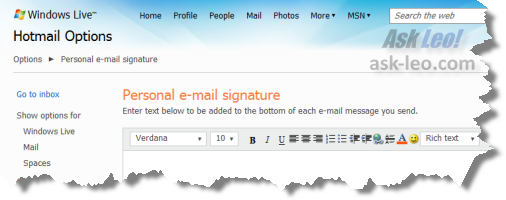 Windows Live Hotmail personal signature