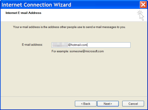 Adding a Windows Live Hotmail account to Outlook Express: Step 2 - your Hotmail address