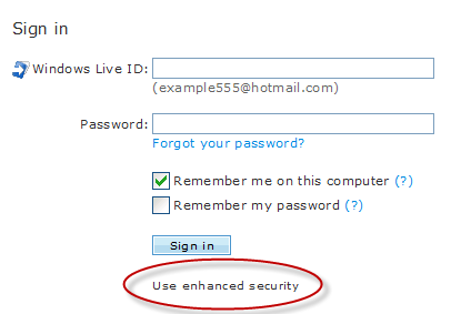 Windows Live Hotmail Enhanced Security Link