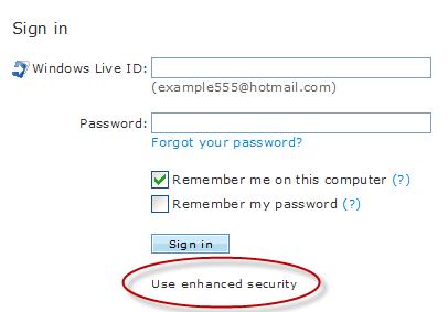 Windows Live Hotmail Enhanced Security Link